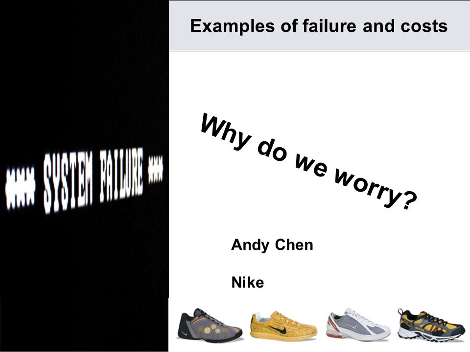 1 Why do we worry? Examples of failure and costs Andy Chen Nike