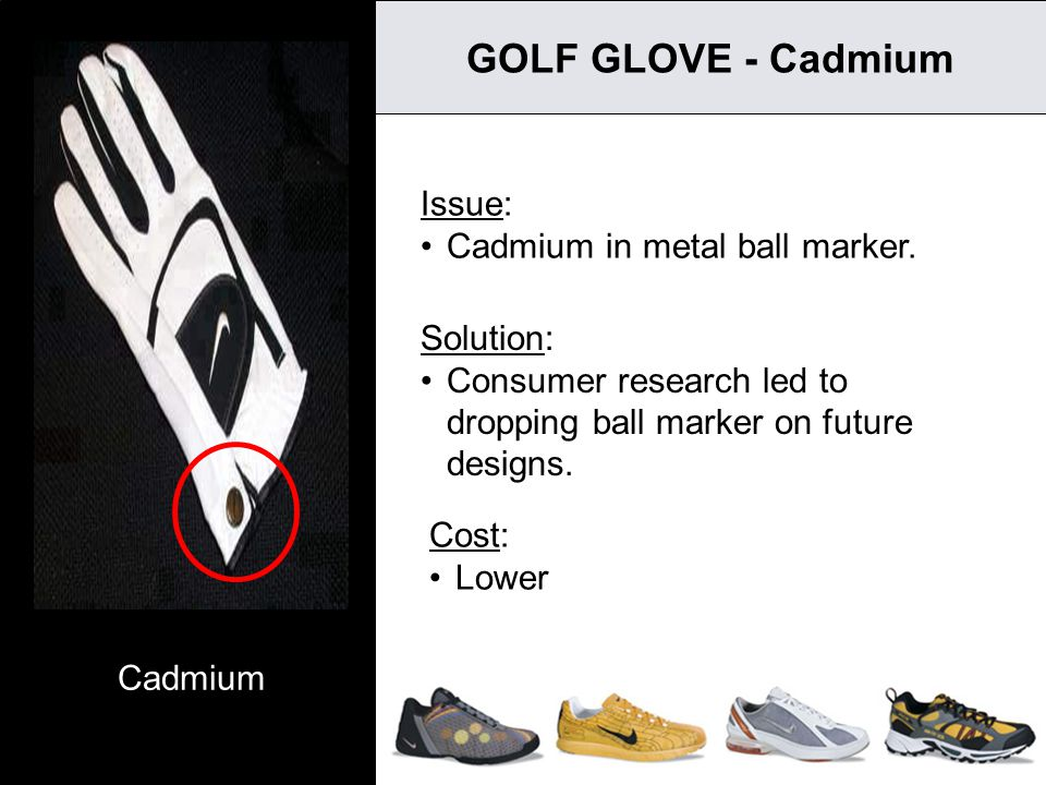 7 GOLF GLOVE - Cadmium Issue: Cadmium in metal ball marker. Cost: Lower Solution: Consumer research led to dropping ball marker on future designs. Cad