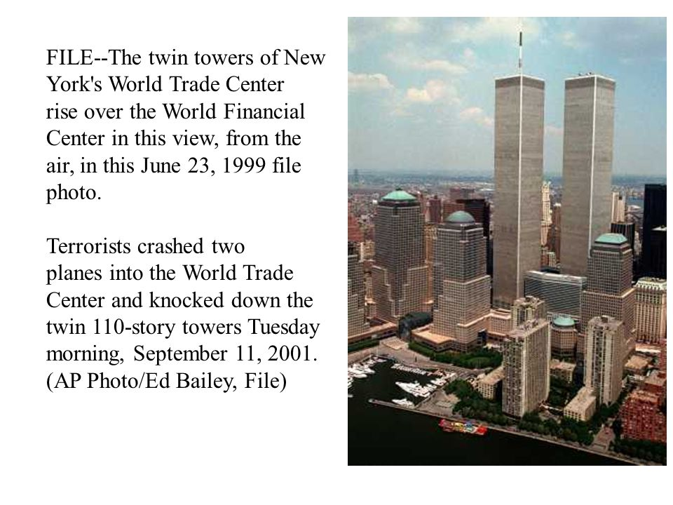 WORLD TRADE CENTER A pleasant September morning turns horrific when, in a coordinated terrorist attack on the United States, a hijacked United Airlines plane approaches to strike the south tower of the World Trade Center, 18 minutes after a hijacked American Airlines jet smashed into the north building, leaving a gaping hole billowing smoke.