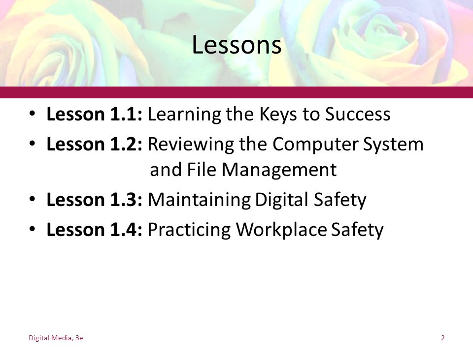 Lessons Lesson 1.1: Learning the Keys to Success Lesson 1.2: Reviewing the Computer System and File Management Lesson 1.3: Maintaining Digital Safety Lesson 1.4: Practicing Workplace Safety Digital Media, 3e2