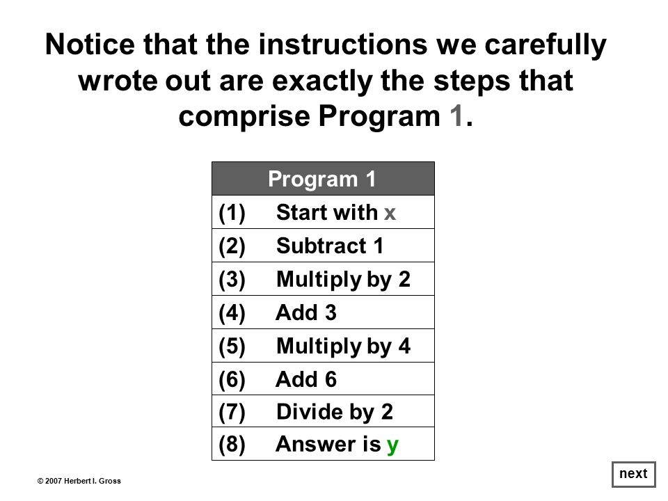 Notice that the instructions we carefully wrote out are exactly the steps that comprise Program 1.