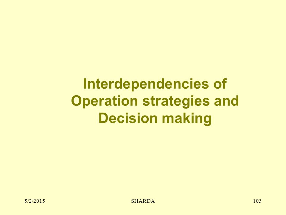 5/2/2015SHARDA103 Interdependencies of Operation strategies and Decision making