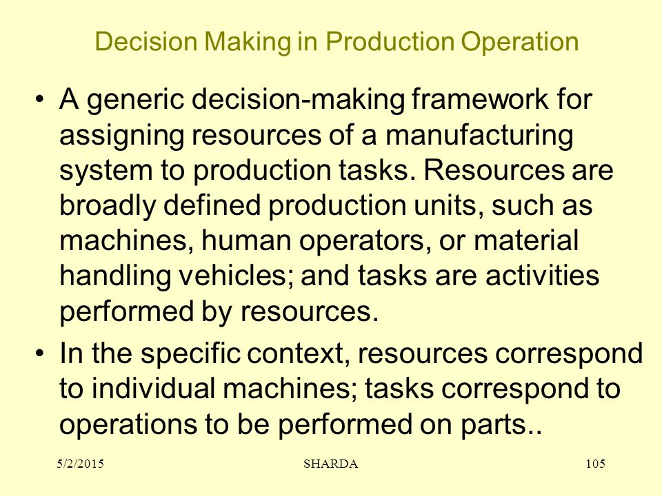 Decision Making in Production Operation 5/2/2015SHARDA105 A generic decision-making framework for assigning resources of a manufacturing system to production tasks.