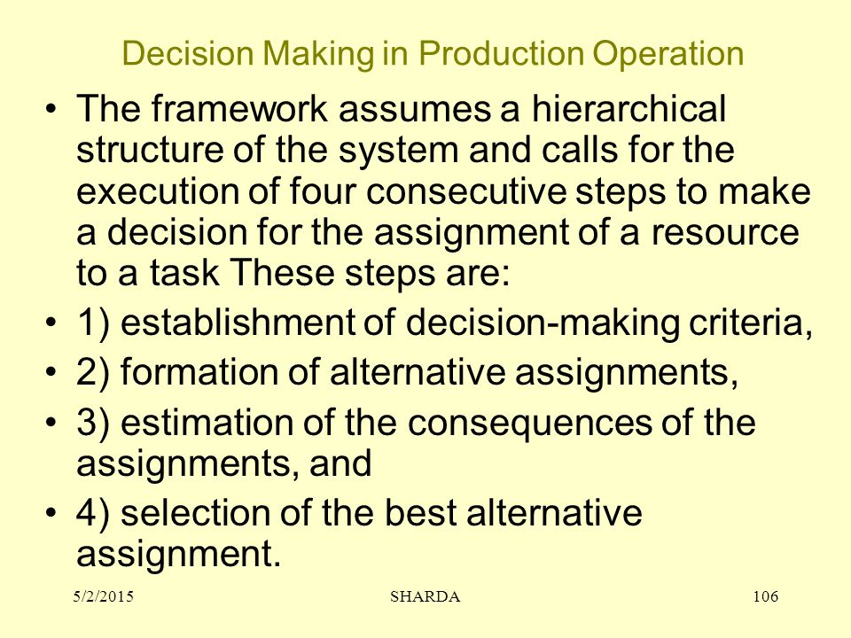 Decision Making in Production Operation 5/2/2015SHARDA106 The framework assumes a hierarchical structure of the system and calls for the execution of