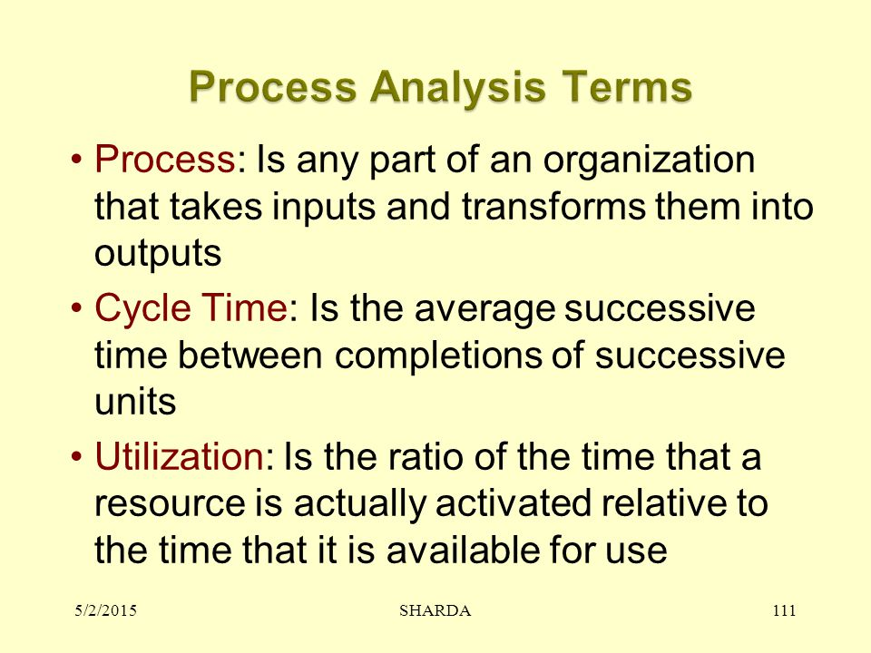 5/2/2015SHARDA111 Process: Is any part of an organization that takes inputs and transforms them into outputs Cycle Time: Is the average successive tim