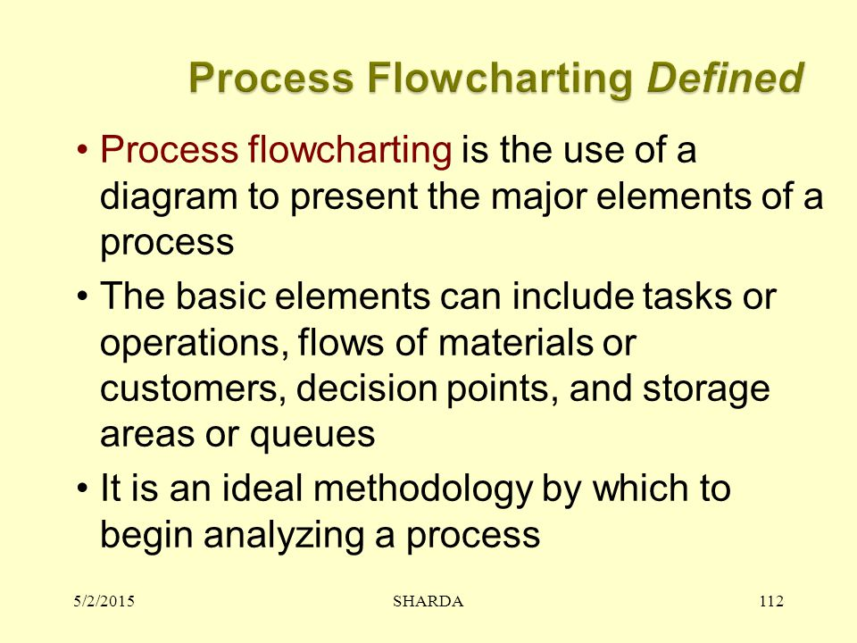 5/2/2015SHARDA112 Process flowcharting is the use of a diagram to present the major elements of a process The basic elements can include tasks or operations, flows of materials or customers, decision points, and storage areas or queues It is an ideal methodology by which to begin analyzing a process