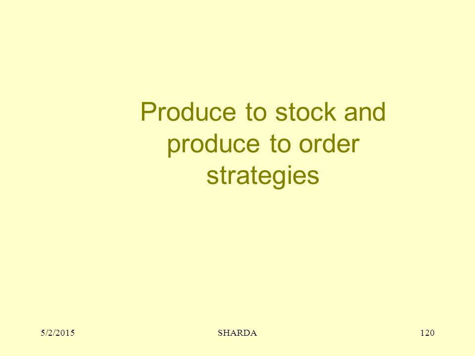 5/2/2015SHARDA120 Produce to stock and produce to order strategies