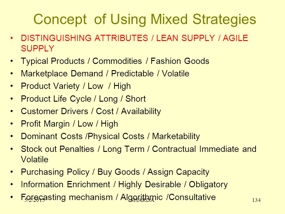 Concept of Using Mixed Strategies DISTINGUISHING ATTRIBUTES / LEAN SUPPLY / AGILE SUPPLY Typical Products / Commodities / Fashion Goods Marketplace De