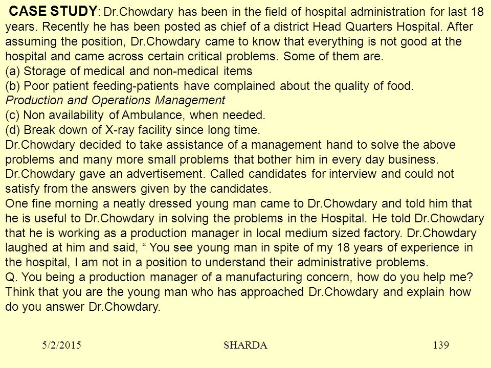 5/2/2015SHARDA139 CASE STUDY : Dr.Chowdary has been in the field of hospital administration for last 18 years.
