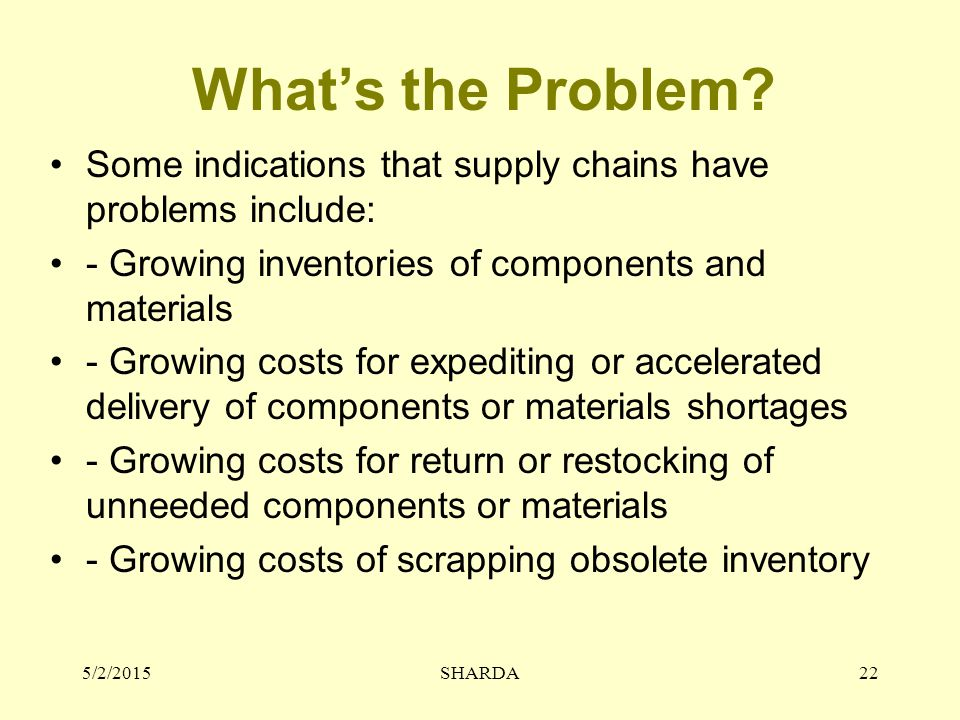 What's the Problem? Some indications that supply chains have problems include: - Growing inventories of components and materials - Growing costs for e