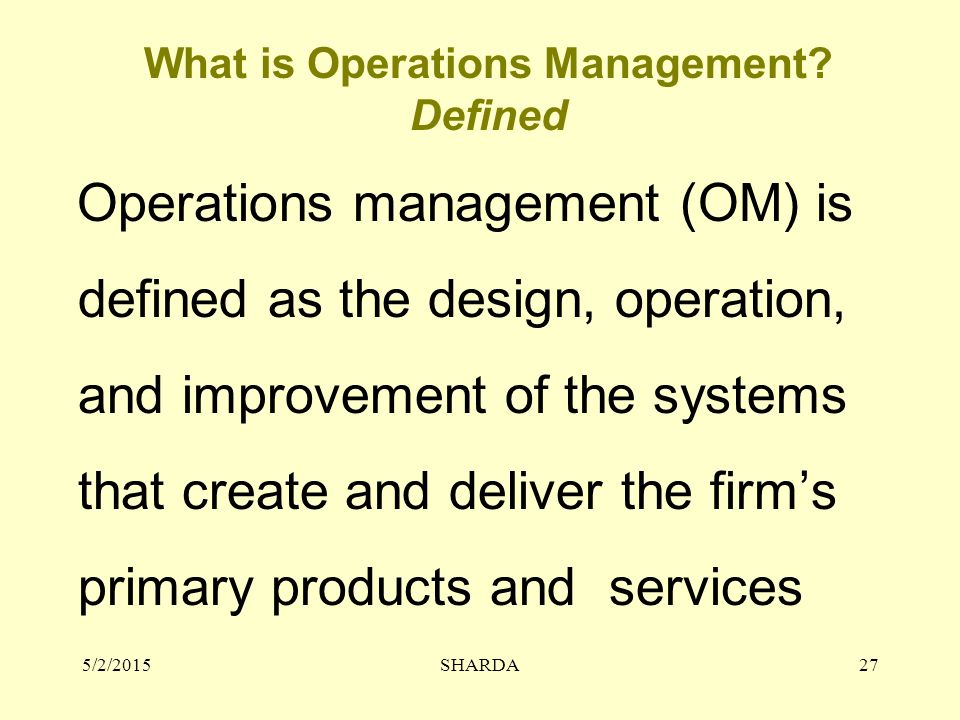 5/2/2015SHARDA27 What is Operations Management.