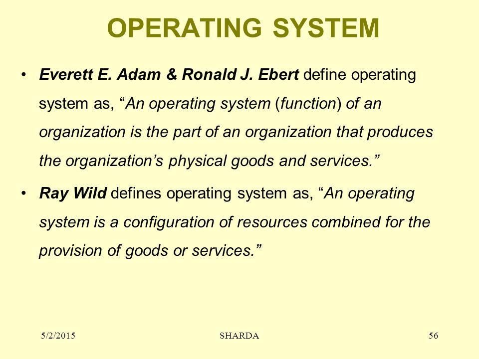 """OPERATING SYSTEM Everett E. Adam & Ronald J. Ebert define operating system as, """"An operating system (function) of an organization is the part of an or"""
