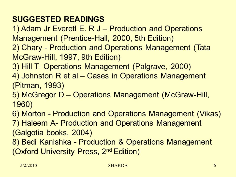 SUGGESTED READINGS 1) Adam Jr Everetl E. R J – Production and Operations Management (Prentice-Hall, 2000, 5th Edition) 2) Chary - Production and Opera