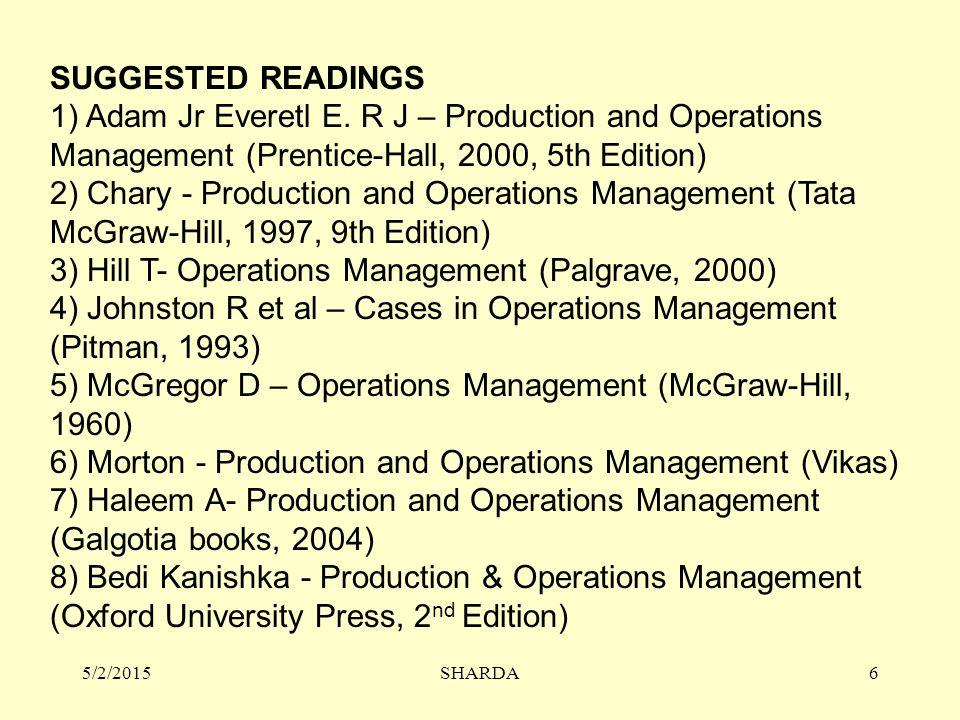 SUGGESTED READINGS 1) Adam Jr Everetl E.