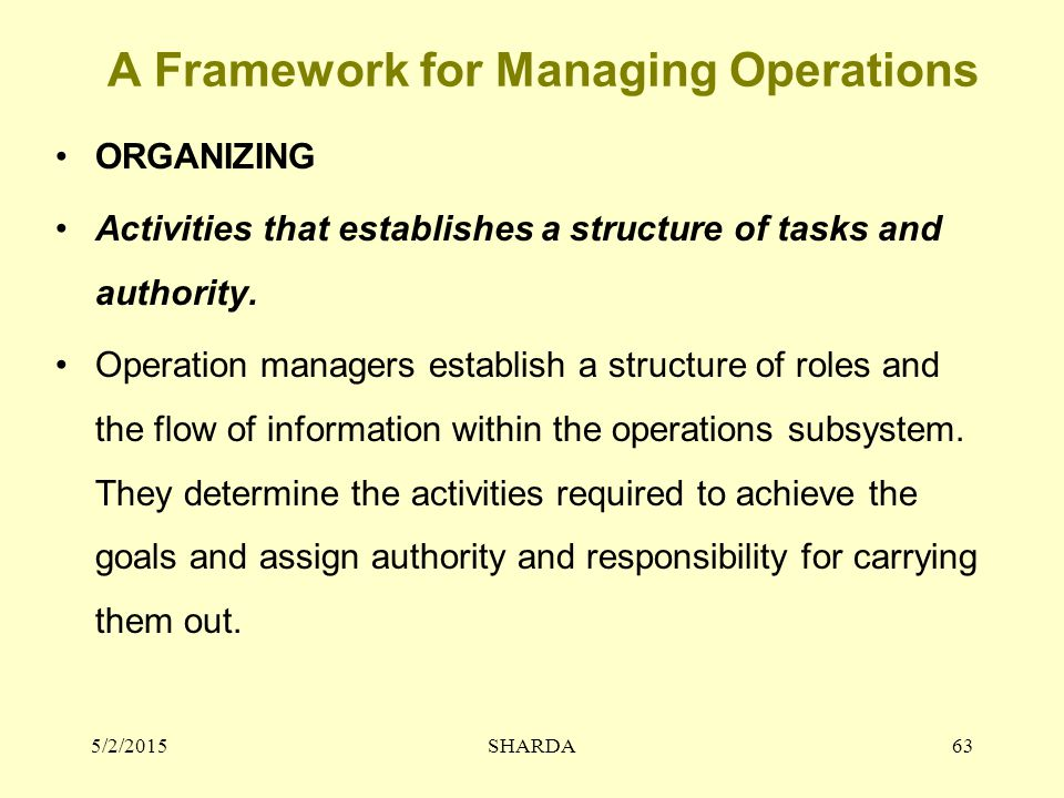 A Framework for Managing Operations ORGANIZING Activities that establishes a structure of tasks and authority. Operation managers establish a structur