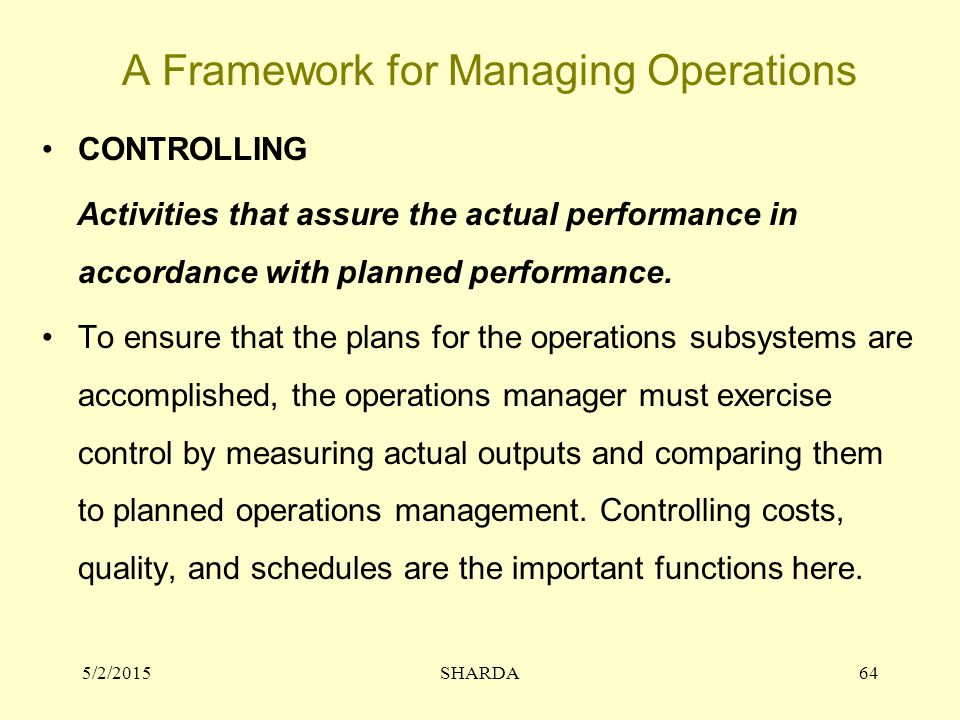 A Framework for Managing Operations CONTROLLING Activities that assure the actual performance in accordance with planned performance.