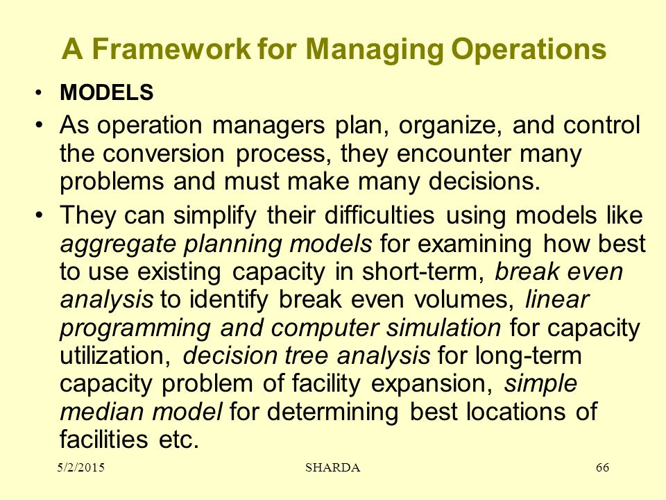 A Framework for Managing Operations MODELS As operation managers plan, organize, and control the conversion process, they encounter many problems and