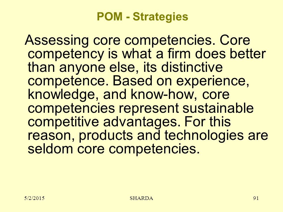 POM - Strategies Assessing core competencies.