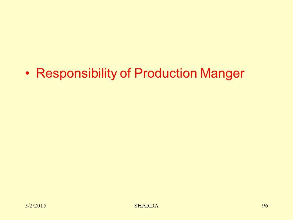 Responsibility of Production Manger 5/2/2015SHARDA96
