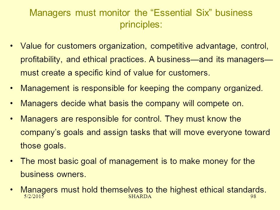 Managers must monitor the Essential Six business principles: Value for customers organization, competitive advantage, control, profitability, and ethical practices.