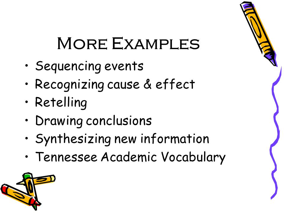 More Examples Sequencing events Recognizing cause & effect Retelling Drawing conclusions Synthesizing new information Tennessee Academic Vocabulary