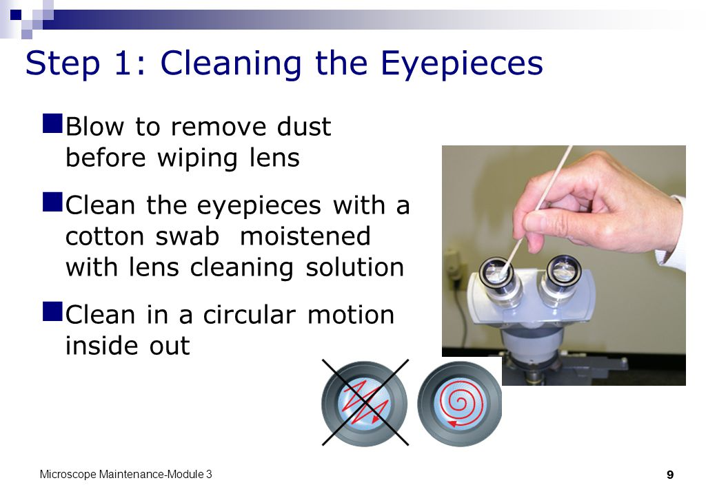 Microscope Maintenance-Module 3 9 Step 1: Cleaning the Eyepieces Blow to remove dust before wiping lens Clean the eyepieces with a cotton swab moistened with lens cleaning solution Clean in a circular motion inside out