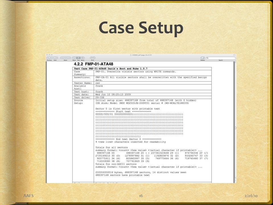 Case Setup 2/26/10AAFS16