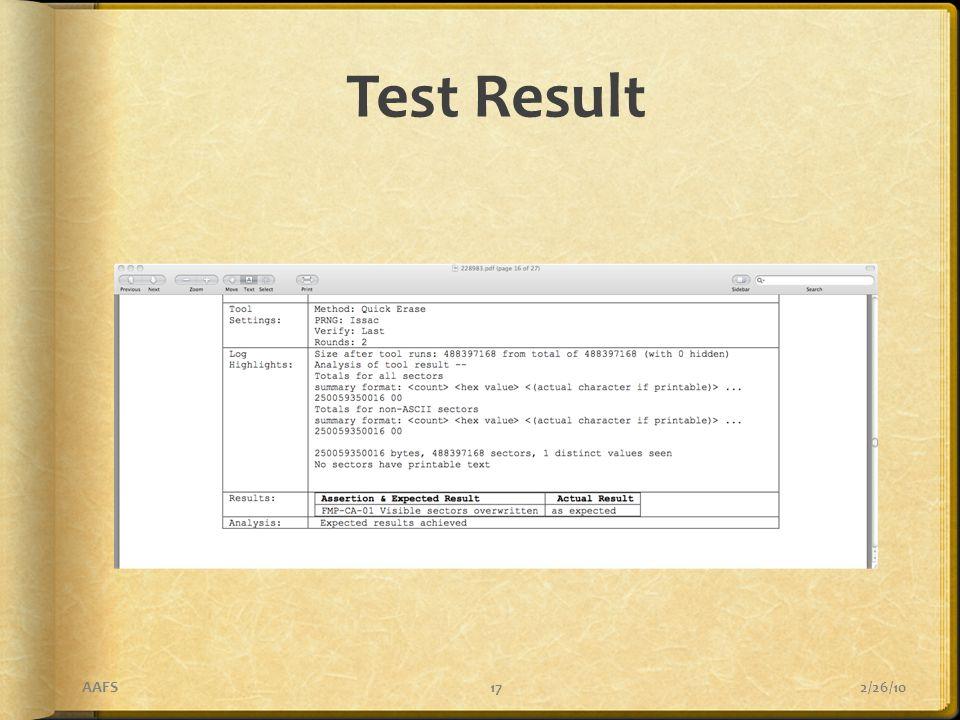 Test Result 2/26/10AAFS17
