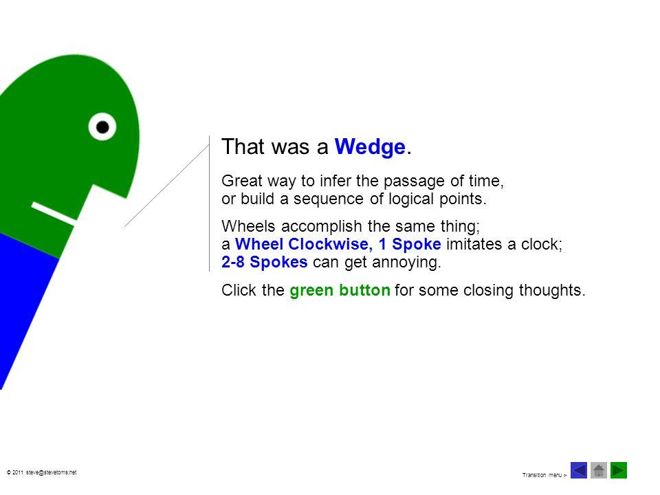 © 2011 steve@stevetoms;net That was a Wedge.