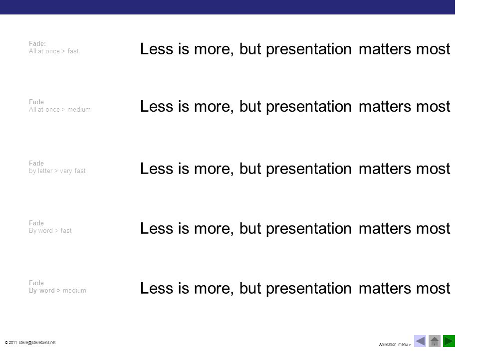 © 2011 steve@stevetoms;net Less is more, but presentation matters most Ascend > fast (building bullet lists under a heading) Ascend > medium (Build curiosity; revealing answers) Descend > fast (Reveal/uncover from a heading or top of slide Descend > medium (Result of cause > effect) Ascend/Descend > medium (continuity between points or objects) Less is more, but presentation matters most Less is more, but presentation matters most Less is more, but presentation matters most When it comes to content: Less is more, but presentation matters most Animation menu >