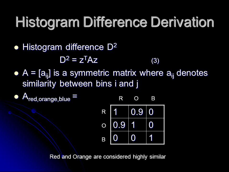 Histogram Difference Derivation Histogram difference D 2 Histogram difference D 2 D 2 = z T Az (3) A = [a ij ] is a symmetric matrix where a ij denote