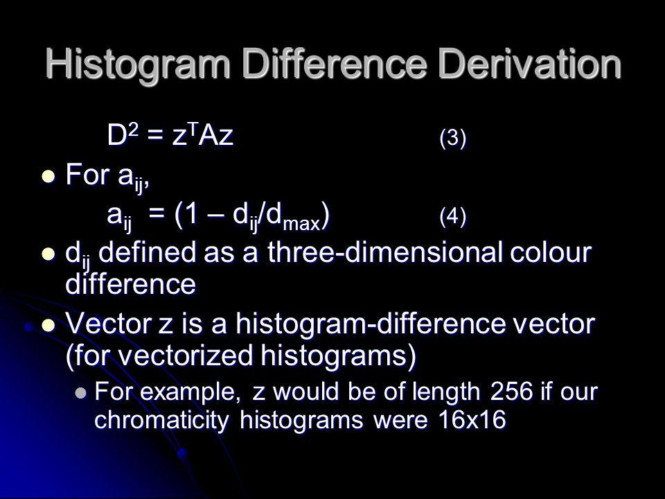 Histogram Difference Derivation D 2 = z T Az (3) For a ij, For a ij, a ij = (1 – d ij /d max ) (4) d ij defined as a three-dimensional colour differen