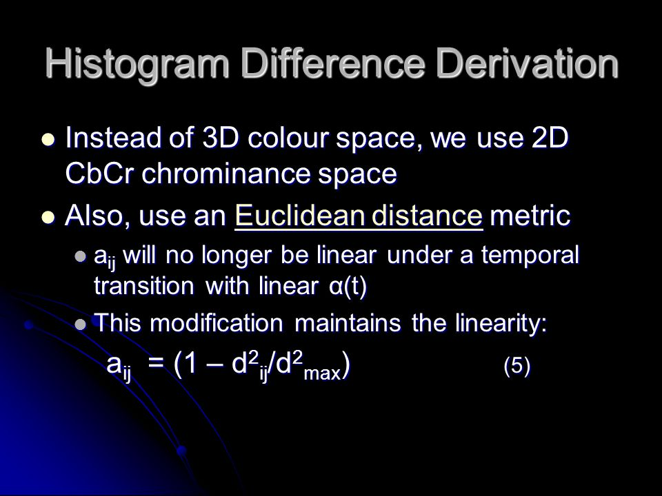 Histogram Difference Derivation Instead of 3D colour space, we use 2D CbCr chrominance space Instead of 3D colour space, we use 2D CbCr chrominance sp