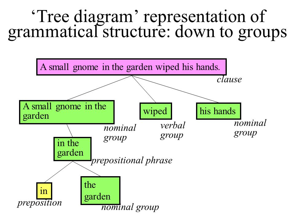 'Tree diagram' representation of grammatical structure: down to groups A small gnome in the garden wiped his hands. A small gnome in the garden wipedh