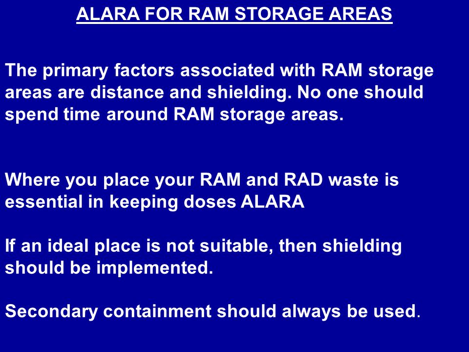 Radiation Dose Rate ALARA Action Levels Unrestricted Area normally occupied for 40 hours per week <0.05 mrem/hr @ 30 cm (whole body dose rate) Restricted Area normally occupied for 40 hours per week or unrestricted area with limited occupancy (< 10 hours per week) <2 mrem/hr @ 30 cm (whole body dose rate) Any doserate > 5 mR/hr, notify RSO immediately