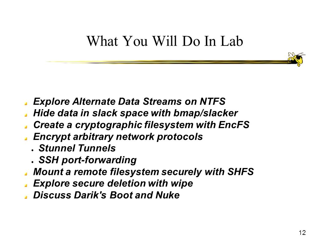 What You Will Do In Lab Explore Alternate Data Streams on NTFS Hide data in slack space with bmap/slacker Create a cryptographic filesystem with EncFS Encrypt arbitrary network protocols ● Stunnel Tunnels ● SSH port-forwarding Mount a remote filesystem securely with SHFS Explore secure deletion with wipe Discuss Darik s Boot and Nuke 12