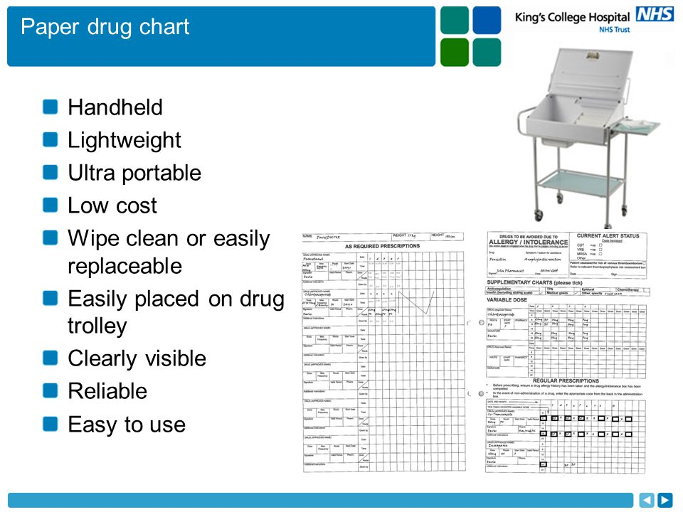 Paper drug chart Handheld Lightweight Ultra portable Low cost Wipe clean or easily replaceable Easily placed on drug trolley Clearly visible Reliable Easy to use