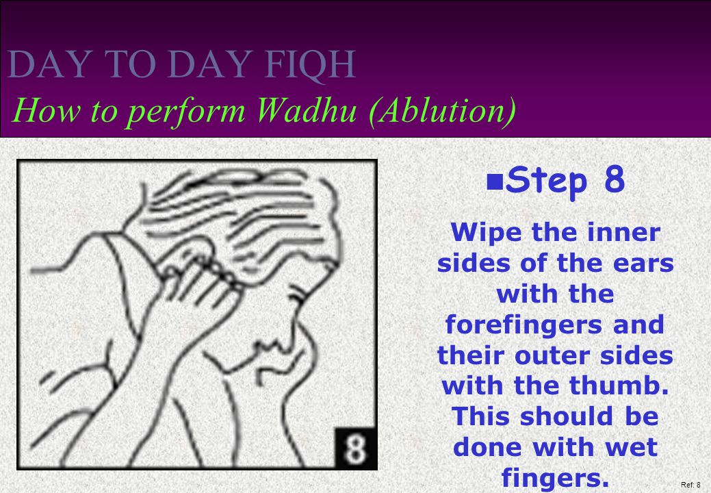 Ref: 8 DAY TO DAY FIQH How to perform Wadhu (Ablution) Step 8 Wipe the inner sides of the ears with the forefingers and their outer sides with the thumb.