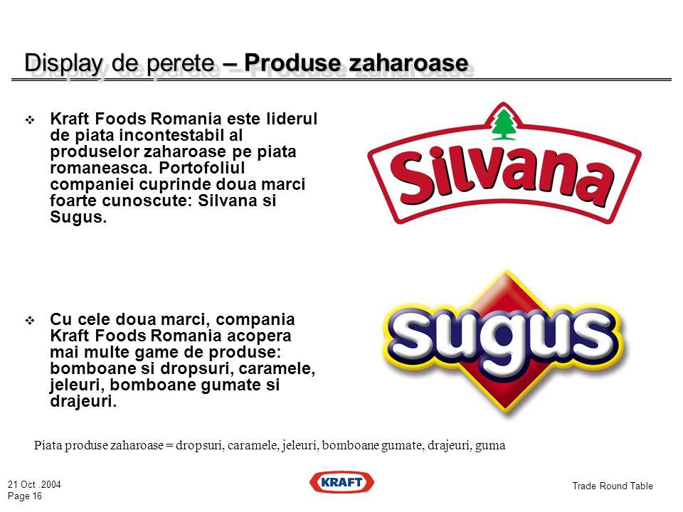 21 Oct.2004 Page 16 Trade Round Table Display de perete – Produse zaharoase  Kraft Foods Romania este liderul de piata incontestabil al produselor zaharoase pe piata romaneasca.