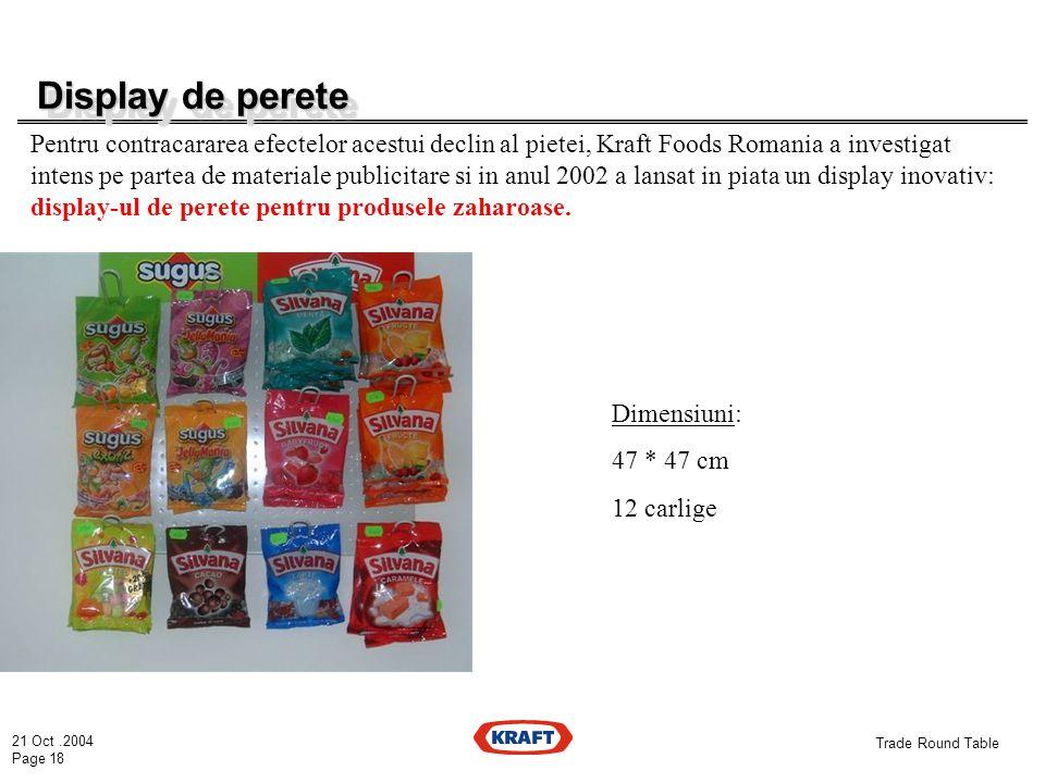 21 Oct.2004 Page 18 Trade Round Table Display de perete Display de perete Pentru contracararea efectelor acestui declin al pietei, Kraft Foods Romania a investigat intens pe partea de materiale publicitare si in anul 2002 a lansat in piata un display inovativ: display-ul de perete pentru produsele zaharoase.