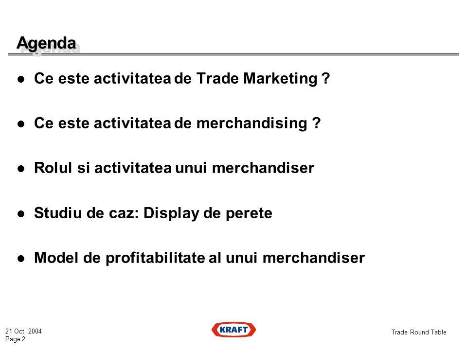 21 Oct.2004 Page 2 Trade Round Table AgendaAgenda Ce este activitatea de Trade Marketing .