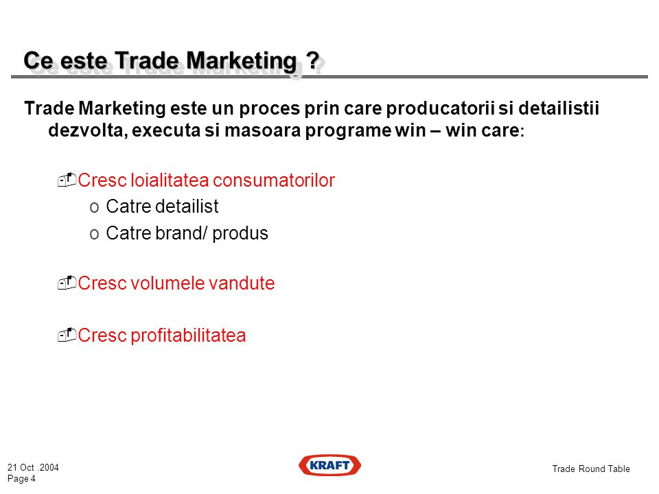 21 Oct.2004 Page 4 Trade Round Table Ce este Trade Marketing .