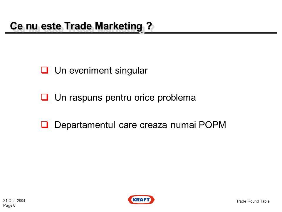 21 Oct.2004 Page 6 Trade Round Table Ce nu este Trade Marketing .