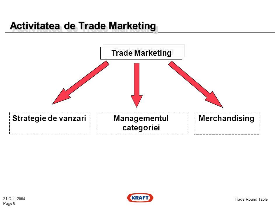 21 Oct.2004 Page 8 Trade Round Table Activitatea de Trade Marketing Trade Marketing Strategie de vanzari Managementul categoriei Merchandising