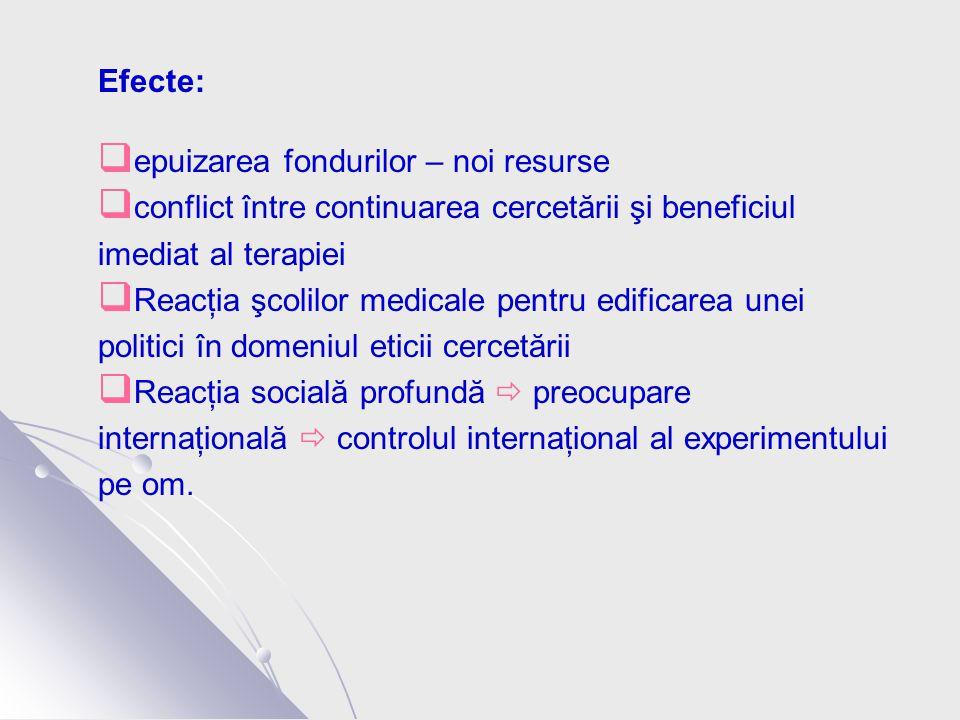 Efecte:  epuizarea fondurilor – noi resurse  conflict între continuarea cercetării şi beneficiul imediat al terapiei  Reacţia şcolilor medicale pentru edificarea unei politici în domeniul eticii cercetării  Reacţia socială profundă  preocupare internaţională  controlul internaţional al experimentului pe om.