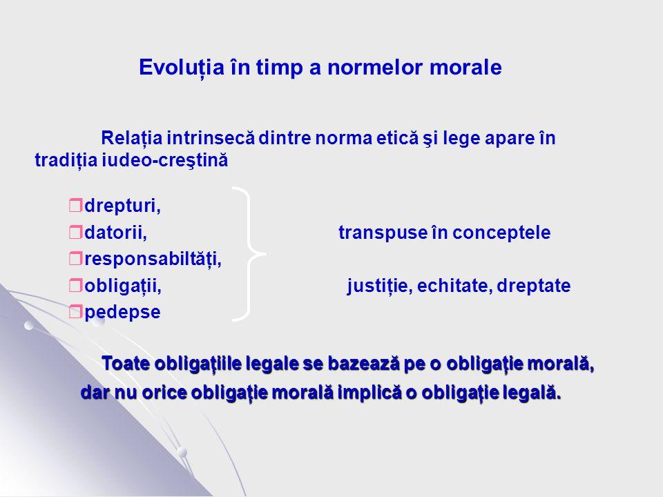 Evoluţia în timp a normelor morale Relaţia intrinsecă dintre norma etică şi lege apare în tradiţia iudeo-creştină  drepturi,  datorii, transpuse în conceptele  responsabiltăţi,  obligaţii, justiţie, echitate, dreptate  pedepse Toate obligaţiile legale se bazează pe o obligaţie morală, dar nu orice obligaţie morală implică o obligaţie legală.