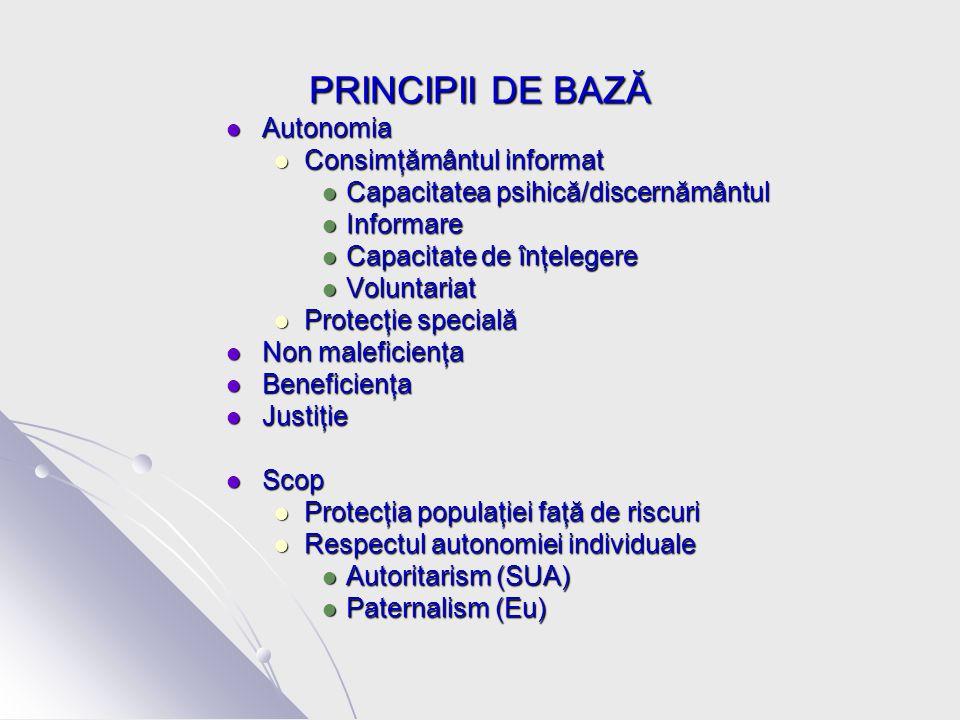 PRINCIPII DE BAZĂ Autonomia Autonomia Consimţământul informat Consimţământul informat Capacitatea psihică/discernământul Capacitatea psihică/discernământul Informare Informare Capacitate de înţelegere Capacitate de înţelegere Voluntariat Voluntariat Protecţie specială Protecţie specială Non maleficienţa Non maleficienţa Beneficienţa Beneficienţa Justiţie Justiţie Scop Scop Protecţia populaţiei faţă de riscuri Protecţia populaţiei faţă de riscuri Respectul autonomiei individuale Respectul autonomiei individuale Autoritarism (SUA) Autoritarism (SUA) Paternalism (Eu) Paternalism (Eu)
