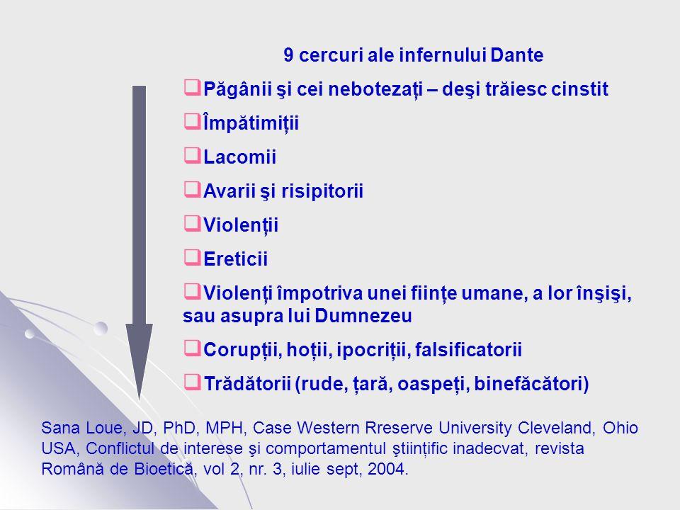 9 cercuri ale infernului Dante  Păgânii şi cei nebotezaţi – deşi trăiesc cinstit  Împătimiţii  Lacomii  Avarii şi risipitorii  Violenţii  Ereticii  Violenţi împotriva unei fiinţe umane, a lor înşişi, sau asupra lui Dumnezeu  Corupţii, hoţii, ipocriţii, falsificatorii  Trădătorii (rude, ţară, oaspeţi, binefăcători) Sana Loue, JD, PhD, MPH, Case Western Rreserve University Cleveland, Ohio USA, Conflictul de interese şi comportamentul ştiinţific inadecvat, revista Română de Bioetică, vol 2, nr.