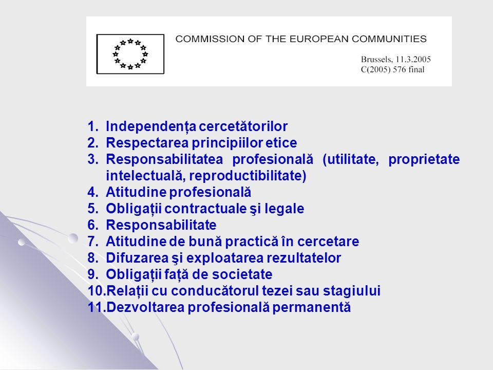 1.Independenţa cercetătorilor 2.Respectarea principiilor etice 3.Responsabilitatea profesională (utilitate, proprietate intelectuală, reproductibilitate) 4.Atitudine profesională 5.Obligaţii contractuale şi legale 6.Responsabilitate 7.Atitudine de bună practică în cercetare 8.Difuzarea şi exploatarea rezultatelor 9.Obligaţii faţă de societate 10.Relaţii cu conducătorul tezei sau stagiului 11.Dezvoltarea profesională permanentă