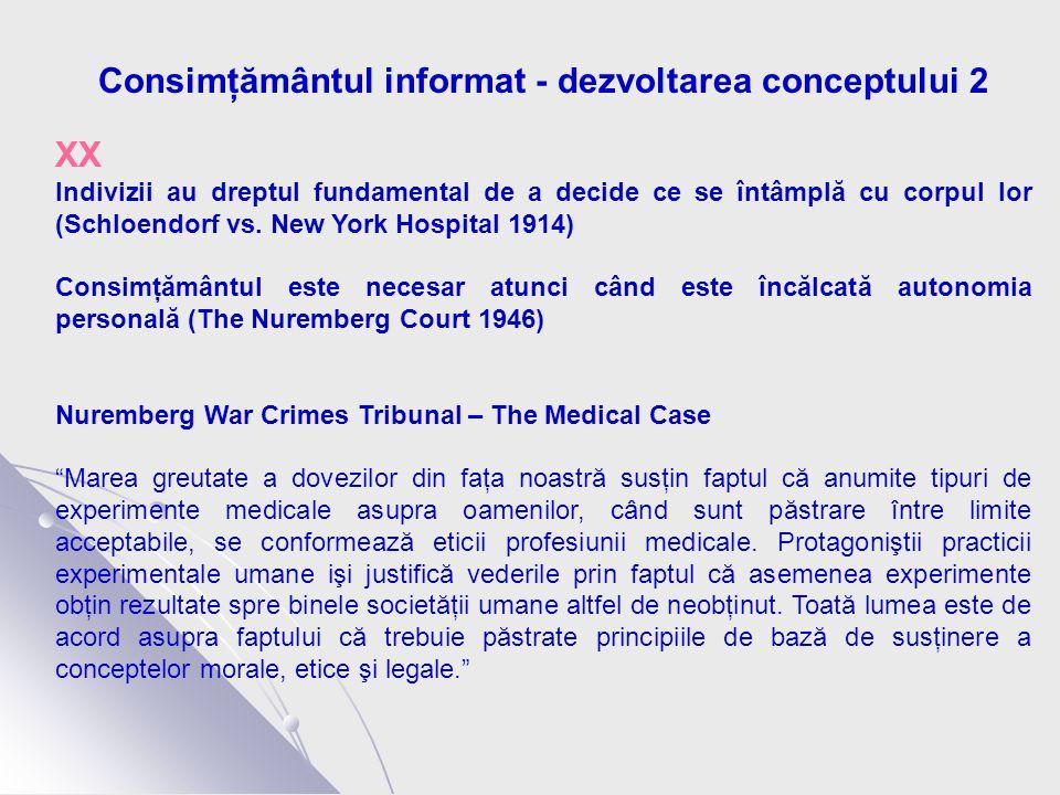 Consimţământul informat - dezvoltarea conceptului 2 XX Indivizii au dreptul fundamental de a decide ce se întâmplă cu corpul lor (Schloendorf vs.